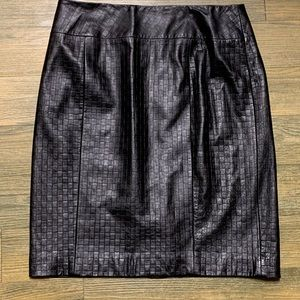 NEW Flores Black Genuine Leather Pencil Skirt 10